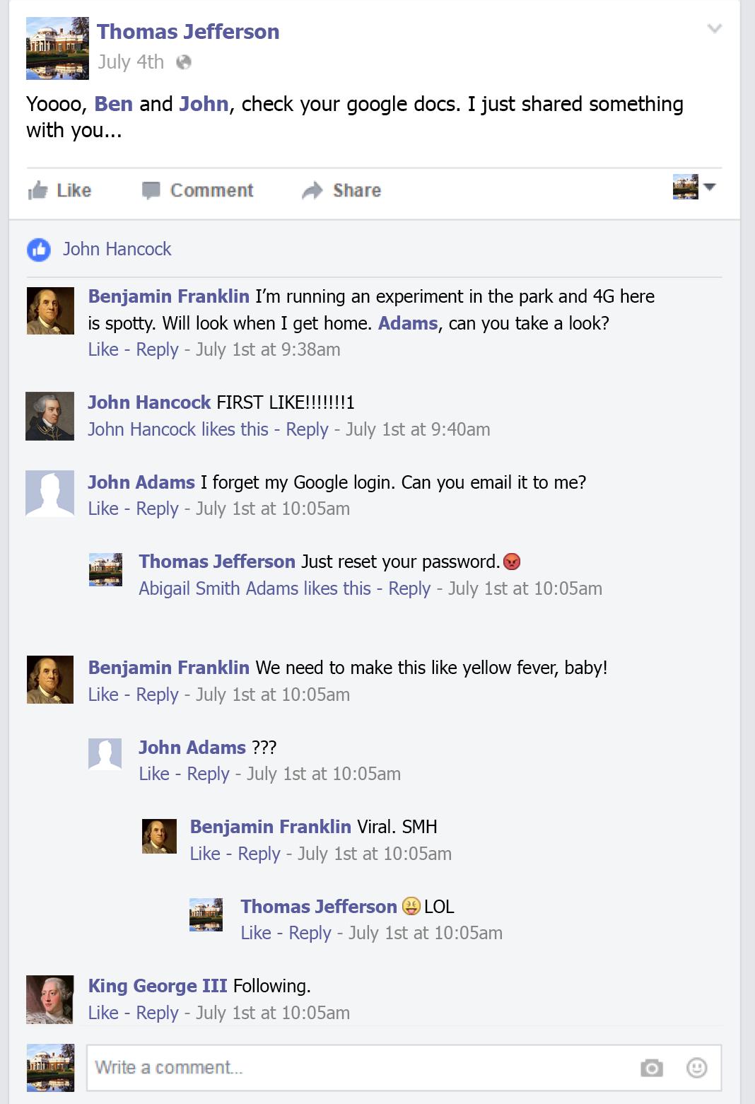 Thomas Jefferson's social media account