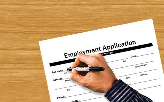 Graduates completing job applications