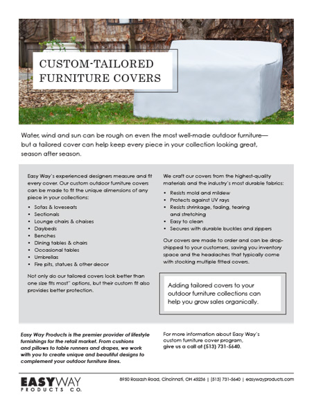 Sales sheet about furniture covers