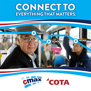 Ad with people connected by lines