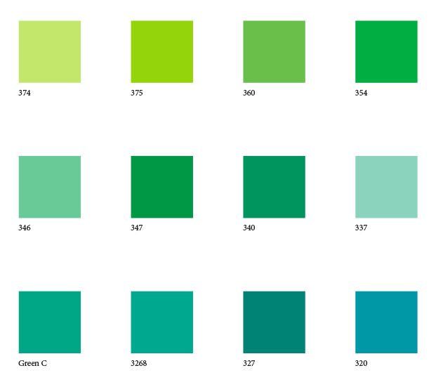 Green and blue color swatches