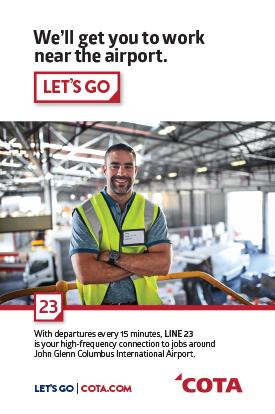 Vertical quarter-page transit ad