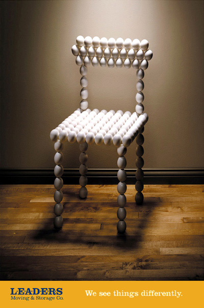 identity poster with chair made of eggs