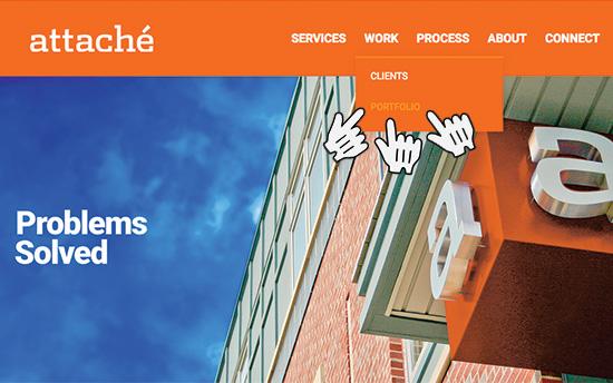 Web page with new portfolio in menu