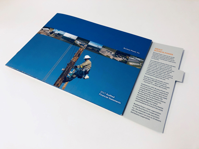 Annual report with flap open