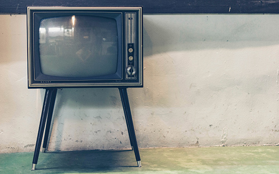 television for viewing super bowl commercials